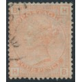 GREAT BRITAIN - 1876 4d vermilion Queen Victoria with Large Garter watermark, plate 15, used – SG # 152