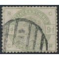 GREAT BRITAIN - 1883 9d dull green QV, sideways inverted wmk, used - SG # 195wi