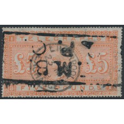 GREAT BRITAIN - 1882 £5 orange QV TELEGRAPHS, Shamrocks watermark, used – SG # T18