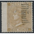 GREAT BRITAIN - 1862 9d bistre QV, small corner letters, Emblems watermark, used – SG # 86