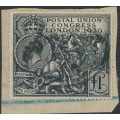 GREAT BRITAIN - 1929 £1 black Postal Union Congress (PUC) on piece, used – SG # 438