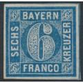 BAVARIA / BAYERN - 1862 6Kr blue Numeral, imperforate, unused – Michel # 10a