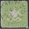 WÜRTTEMBERG - 1865 1Kr green Coat of Arms, rouletted, used – Michel # 30a