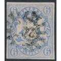 BAVARIA / BAYERN - 1867 6Kr pale ultramarine Coat of Arms, imperf., used – Michel # 16