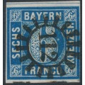BAVARIA / BAYERN - 1862 6Kr dark blue Numeral, imperforate, used – Michel # 10b