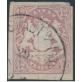BAVARIA / BAYERN - 1867 12Kr pale brownish violet Coat of Arms, imperforate, used – Michel # 18
