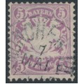 BAVARIA / BAYERN - 1878 5pf red-violet Coat of Arms, perf. 11½, horizontal wavy lines watermark, used – Michel # 45b