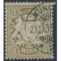 BAVARIA / BAYERN - 1900 3Mk brown-olive Coat of Arms, vertical wavy lines watermark, used – Michel # 69x