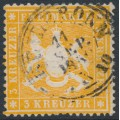 WÜRTTEMBERG - 1860 3Kr yellow-orange Coat of Arms, perf. 13½ on thick paper, used – Michel # 17xa