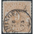 WÜRTTEMBERG - 1879 9Kr. pale brown Numeral in Oval, rouletted, used – Michel # 40a