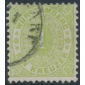 WÜRTTEMBERG - 1874 1Kr yellow-green Numeral in Oval, perf. 11½:11, used – Michel # 43