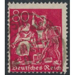 GERMANY - 1921 80pfg carmine-red Blacksmith, lozenges watermark, geprüft, used – Michel # 166