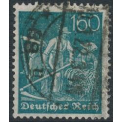 GERMANY - 1921 160pfg dark greenish blue Harvester, lozenges watermark, geprüft, used – Michel # 170