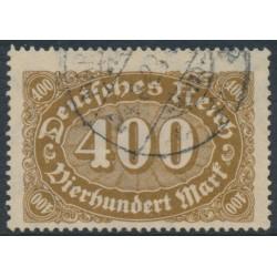 GERMANY - 1922 400Mk yellow-brown Numeral, network watermark, geprüft, used – Michel # 222a