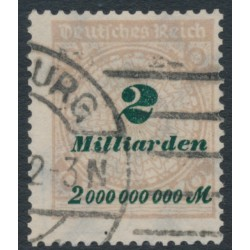 GERMANY - 1923 2Milliarden Mk pale brown/dark green Numeral, geprüft, used – Michel # 326A