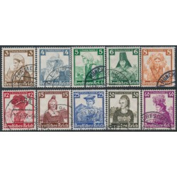 GERMANY - 1935 Regional Costumes set of 10, used – Michel # 588-597