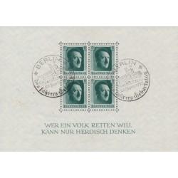 GERMANY - 1937 Hitler's 48th Birthday S/S, used – Michel # Block 7