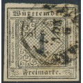 WÜRTTEMBERG - 1851 1Kr black on yellow-white Numeral, imperforate, used – Michel # 1Ia