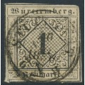 WÜRTTEMBERG - 1851 1Kr black on grey-yellow Numeral, imperforate, used – Michel # 1IIIb