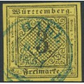 WÜRTTEMBERG - 1851 3Kr black on yellow Numeral (type I), imperforate, used – Michel # 2Ia