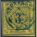 WÜRTTEMBERG - 1851 3Kr black on yellow Numeral (type II), imperforate, used – Michel # 2IIa