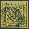 WÜRTTEMBERG - 1851 3Kr black on yellow Numeral (type III), imperforate, used – Michel # 2IIIa