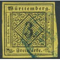 WÜRTTEMBERG - 1851 3Kr black on yellow Numeral (type IVa), imperforate, used – Michel # 2aIVa