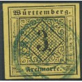 WÜRTTEMBERG - 1851 3Kr black on yellow Numeral (type IVc), imperforate, used – Michel # 2aIVc