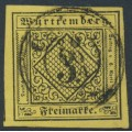 WÜRTTEMBERG - 1851 3Kr black on yellow Numeral (type V), imperforate, used – Michel # 2Va