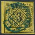 WÜRTTEMBERG - 1851 3Kr black on dark yellow Numeral (type IVa), imperforate, used – Michel # 2dIVa