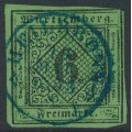 WÜRTTEMBERG - 1851 6Kr black on yellow-green Numeral (type I), imperforate, used – Michel # 3Ia