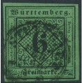 WÜRTTEMBERG - 1851 6Kr black on blue-green Numeral (type III), imperforate, used – Michel # 3IIIb