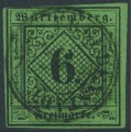 WÜRTTEMBERG - 1851 6Kr black on dark yellowish green Numeral (type III), on thin paper (Seidenpapier), used – Michel # 3y
