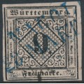 WÜRTTEMBERG - 1851 9Kr black on pale rose Numeral, imperforate, used – Michel # 4Ia