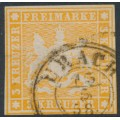 WÜRTTEMBERG - 1857 3Kr yellow-orange Coat of Arms, imperf. with silk thread, used – Michel # 7a