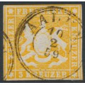 WÜRTTEMBERG - 1857 3Kr orange-yellow Coat of Arms, imperf. with silk thread, used – Michel # 7b