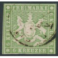 WÜRTTEMBERG - 1857 6Kr yellowish green Coat of Arms, imperf. with silk thread, used – Michel # 8a