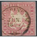 WÜRTTEMBERG - 1857 9Kr carmine Coat of Arms, imperf. with silk thread, used – Michel # 9a