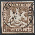 WÜRTTEMBERG - 1859 1Kr brown Coat of Arms, imperf. without silk thread, used – Michel # 11a