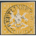 WÜRTTEMBERG - 1859 3Kr orange Coat of Arms, imperf. without silk thread, used – Michel # 12a