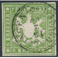 WÜRTTEMBERG - 1859 6Kr green Coat of Arms, imperf. without silk thread, used – Michel # 13a