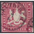 WÜRTTEMBERG - 1859 9Kr carmine Coat of Arms, imperf. without silk thread, used – Michel # 14a