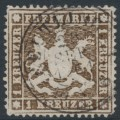 WÜRTTEMBERG - 1861 1Kr dark brown Coat of Arms, perf. 13½ on thin paper, used – Michel # 16yb