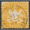 WÜRTTEMBERG - 1860 3Kr orange Coat of Arms, perf. 13½ on thick paper, used – Michel # 17xa