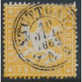WÜRTTEMBERG - 1861 3Kr yellow-orange Coat of Arms, perf. 13½ on thin paper, used – Michel # 17ya