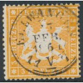 WÜRTTEMBERG - 1860 3Kr deep orange Coat of Arms, perf. 13½ on thick paper, used – Michel # 17xc