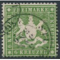 WÜRTTEMBERG - 1860 6Kr green-olive Coat of Arms, perf. 13½ on thick paper, used – Michel # 18xa