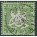 WÜRTTEMBERG - 1861 6Kr green-olive Coat of Arms, perf. 13½ on thin paper, used – Michel # 18ya