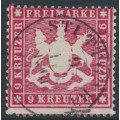 WÜRTTEMBERG - 1860 9Kr carmine Coat of Arms, perf. 13½ on thick paper, used – Michel # 19xa