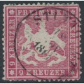 WÜRTTEMBERG - 1861 9Kr carmine Coat of Arms, perf. 13½ on thin paper, used – Michel # 19ya
